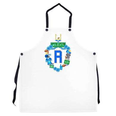 Custom Football Crest Personalized Striped Apron, Solid