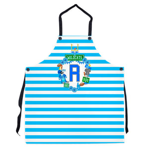 Custom Football Crest Personalized Striped Apron, Striped