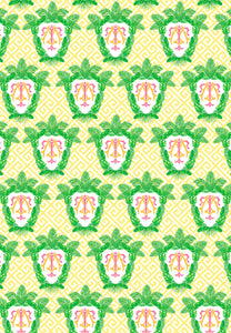 Tropical Palm Leaf Crest Gift Wrap Sheets, Daybreak, Set of 5