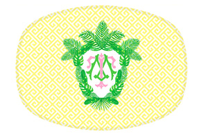 Tropical Palm Leaf Crest, Daybreak, Melamine Platter