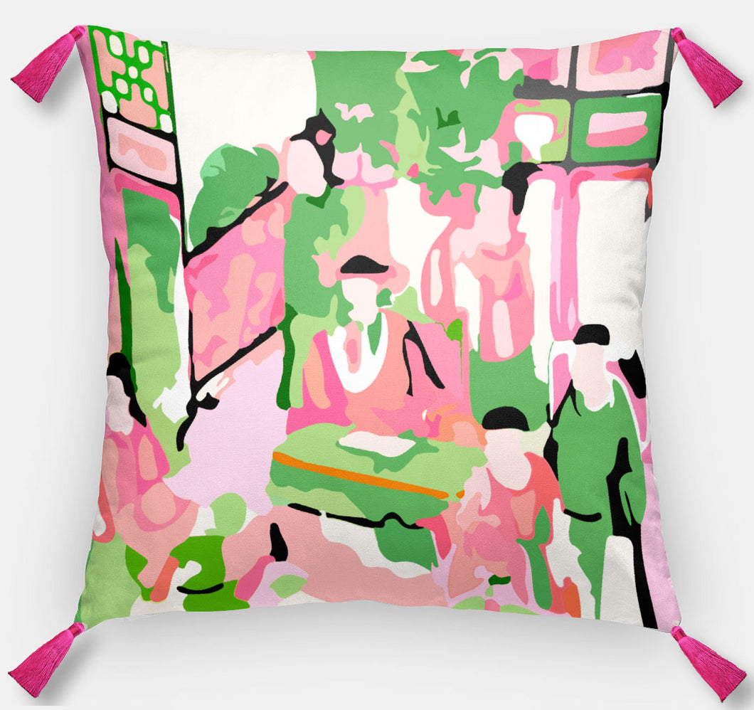 Pink Famille Rose-Inspired Pillow