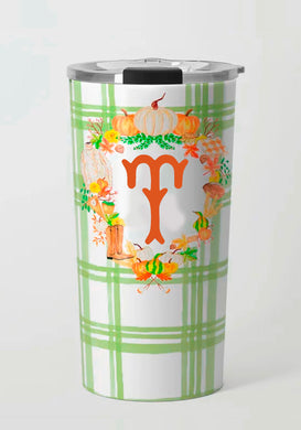 **SALE**- Letter T Fall Custom Crest Travel Tumbler, Foliage