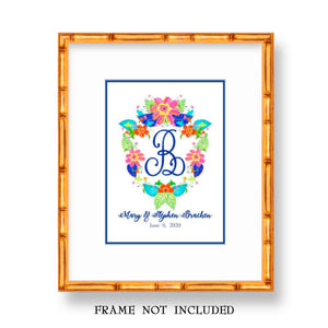 Personalized Tobacco Leaf Wedding Crest Fine Art Print