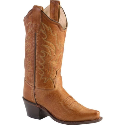 Old West Tan Canyon Childrens Girls Leather 8in Snip Toe Cowboy ... 7249e1be212
