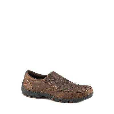 Roper Men's Casuals - Driving Moc - Slip On - Brown Embossed Ostrich