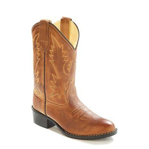 Old West Boys Orange Cowboy Boot Round Toe