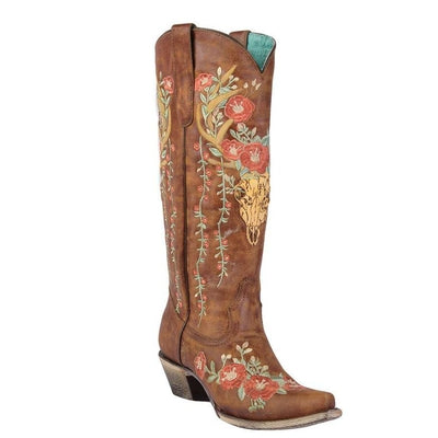 Corral Tan Deer Skull and Floral Embroidery A3620 Snip Toe