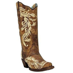 Corral Ladies Morgan Antique Saddle & Sand Side Embroidery Boots A3072