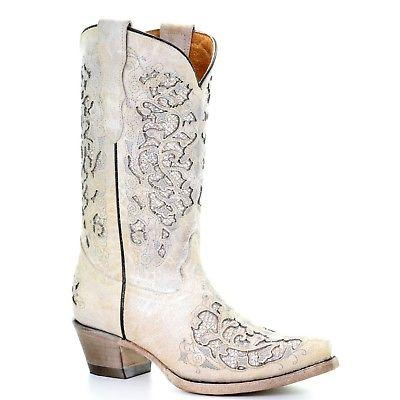 Corral Teens White Glitter Inlay & Embroidery Wedding Boots T0021
