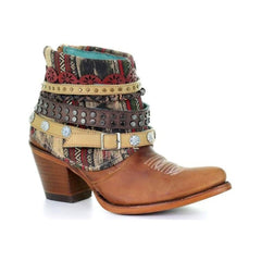 Corral Women's Honey Studded & Woven Harness Ankle Boots - Pointed Toe E1386