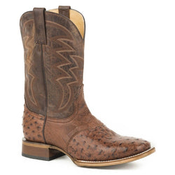 Roper Men's Brown Deadwood Ostrich Skin Boots - Square Toe