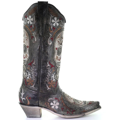 Corral Black and White Sugar Skull Embroidered Studded Boots