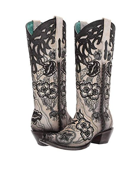 WOMEN'S CORRAL WESTERN BOOTS WHITE-BLACK FLORAL EMBROIDERY C3566