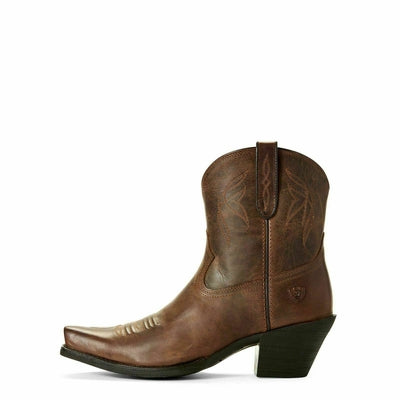 Ariat Women's Lovely 10027229 Sassy Brown Snip Toe Ankle Short Cowgirl Boots NIB