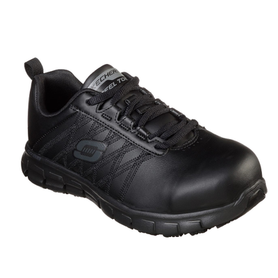 WOMEN'S SKECHERS WORK: SURE TRACK - MARTLEY STEEL TOE 77242 BLK