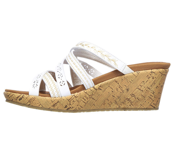 WOMEN'S SKECHERS BEVERLEE - TIGER POSSE WEDGE SANDALS 31714 WHT