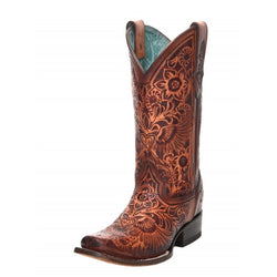 Corral Cognac Heart and Wings Tooled Square Toe Boots C3364