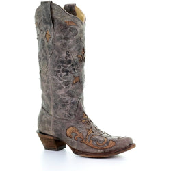Corral Womens Antique Saddle Lizard Inlay Western Boot A3405