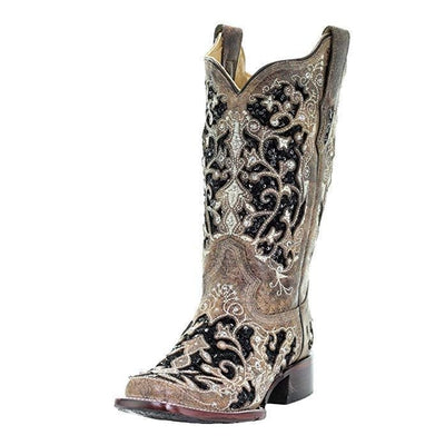 Corral Womens Black Sequin Inlay Cowboy Square Toe Boots A3648