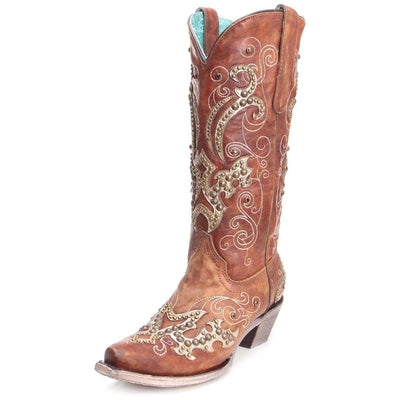 CORRAL WOMEN'S WESTERN COWGIRL TAN OVERLAY STUDS BOOTS A3654