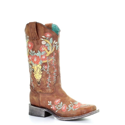 5b6abf0087d Women's CORRAL Tan Deer Skull Overlay & Floral Embroidery Boot A3708(Square  Toe)