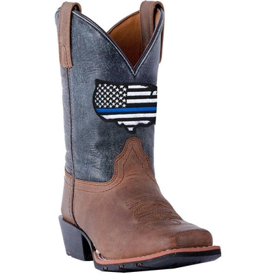DPC3956 Dan Post Youth Thin Blue Line Western Boots - Blue DPC3956