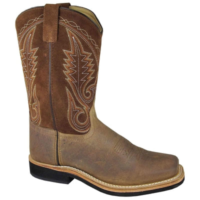 Smoky Mountain 4028 Men's Boonville Brown Leather Square Toe Cowboy Boots