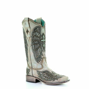 Corral Ladies Turquoise Wings Cross Overlay & Studs Boots A3743