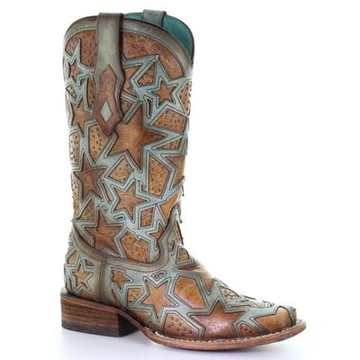 Corral Women's Tan & Light Turquoise Star Overlay Square Toe Western Boots C3519