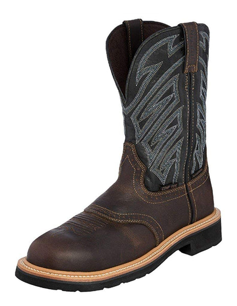 WK4574 Justin Men's Dark Brown Waxy Composition Toe Work Boot