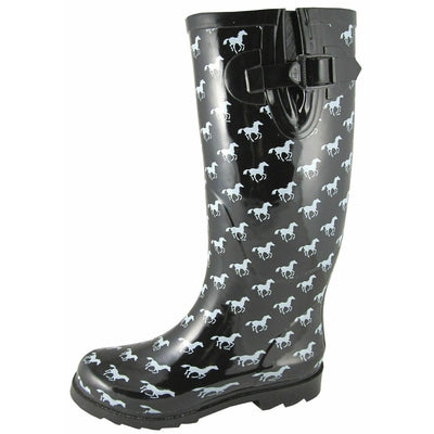 LADIES SMOKY MOUNTAIN RAIN BOOTS 6759 BLACK & WHITE PONIES