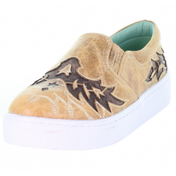 Women's Corral Tan and Brown Inlay Embroidered Sneaker E1568