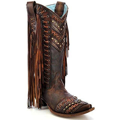 CORRAL BROWN TAN WOVEN DETAILS AND FRINGED SIDES C2986