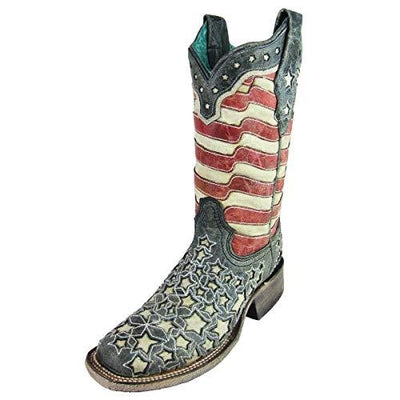 Corral Womens American Flag Glow-in-the-Dark Square Toe Boot A3758