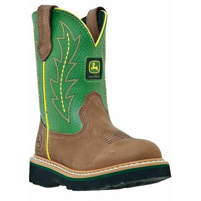 John Deere Western Cowboy Leather Boots JD2186 Children Tan Green