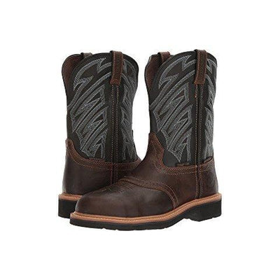 be69e037481 WK4574 Justin Men's Dark Brown Waxy Composition Toe Work Boot