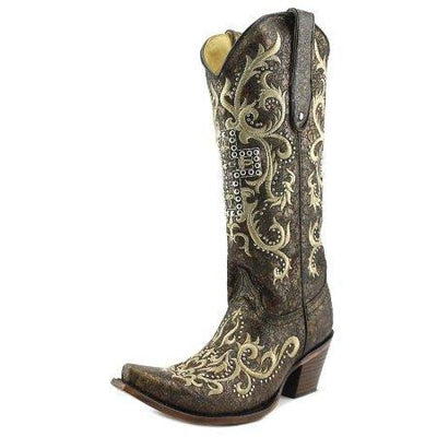 ab50c7996f1 Corral C2873 Women W Pointed Toe Leather Black Western Boot Cross