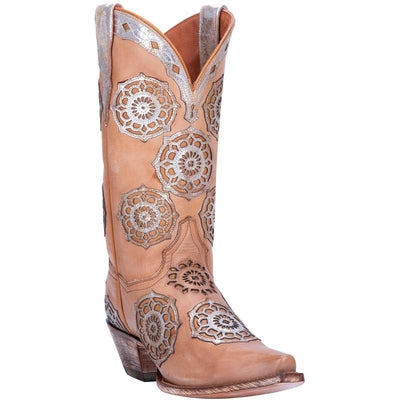 Women's Dan Post Circus Flower Leather Boots Handcrafted DP3764
