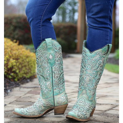 657f435a7d4 A3353 Corral Blue Glitter Inlay Embroidered Cowgirl Boots - Snip Toe