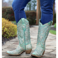 A3353 Corral Blue Glitter Inlay Embroidered Cowgirl Boots - Snip Toe