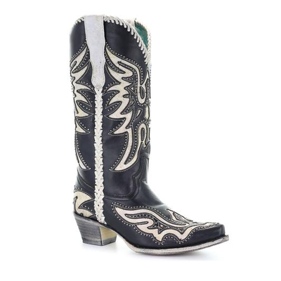 Corral Women's Studded Inlay Western Boots Black & White E1543