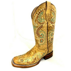 GOLD EMBROIDERY SQUARE TOE BOOT BY CIRCLE G L5512