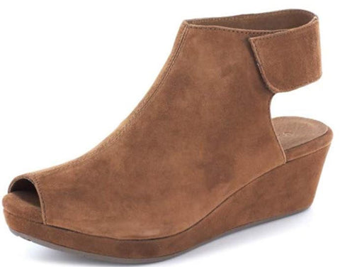 Chocolat Blu Yessi - Open Back Wedge Shoe in Brown Suede