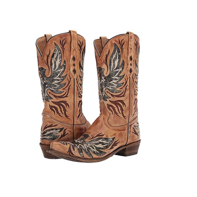 MEN'S HONEY INLAY SNIP TOE CORRAL WESTERN BOOTS A3872