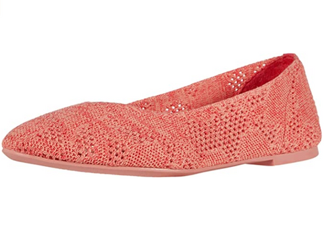 WOMEN'S Skechers Cleo - Knitty City FLAT SHOE CORAL 158019 CRL