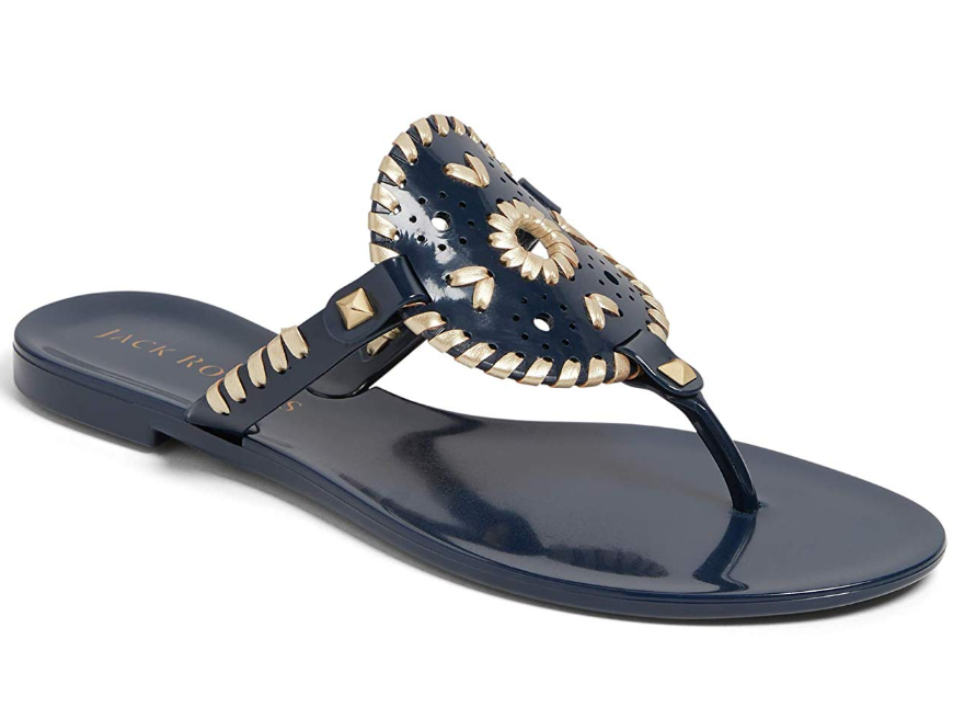 WOMEN'S JACK ROGERS GEORGICA JELLY SANDALS MIDNIGHT/GOLD