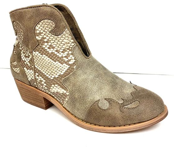 Very G Women's Shelby Ankle Bootie Cream Snake Print VGLB0112-290