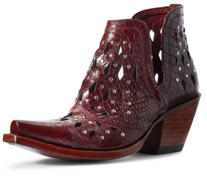 WOMEN'S ARIAT STUDDED RED SNAKE DIXON BOOTIE 10031504
