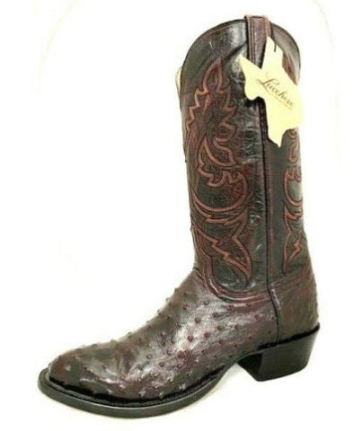 MEN'S GENUINE LUCCHESE HERITAGE BLACK CHERRY FULL QUILL OSTRICH BOOT HL1018.63