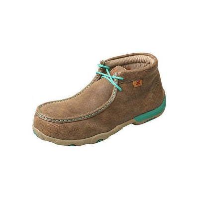 Twisted X Women's Driving Mocs Bomber/Turquoise WDMAL01 STEEL TOE